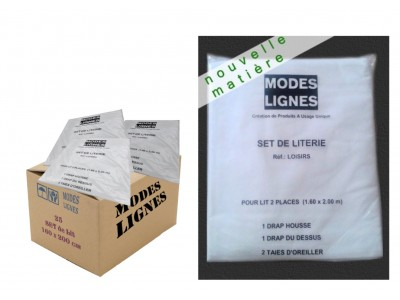 Lot de 25 Sets de Draps Jetables résistants 2 personnes en 160