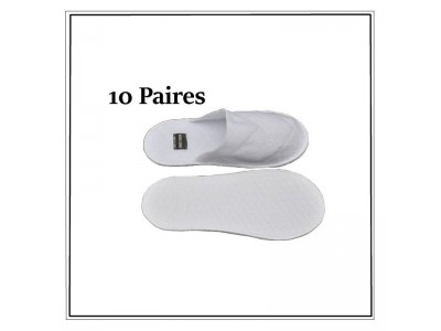 Boite de 10 paires de Mules fermées femme blanches jetables ultra confort 5 mm