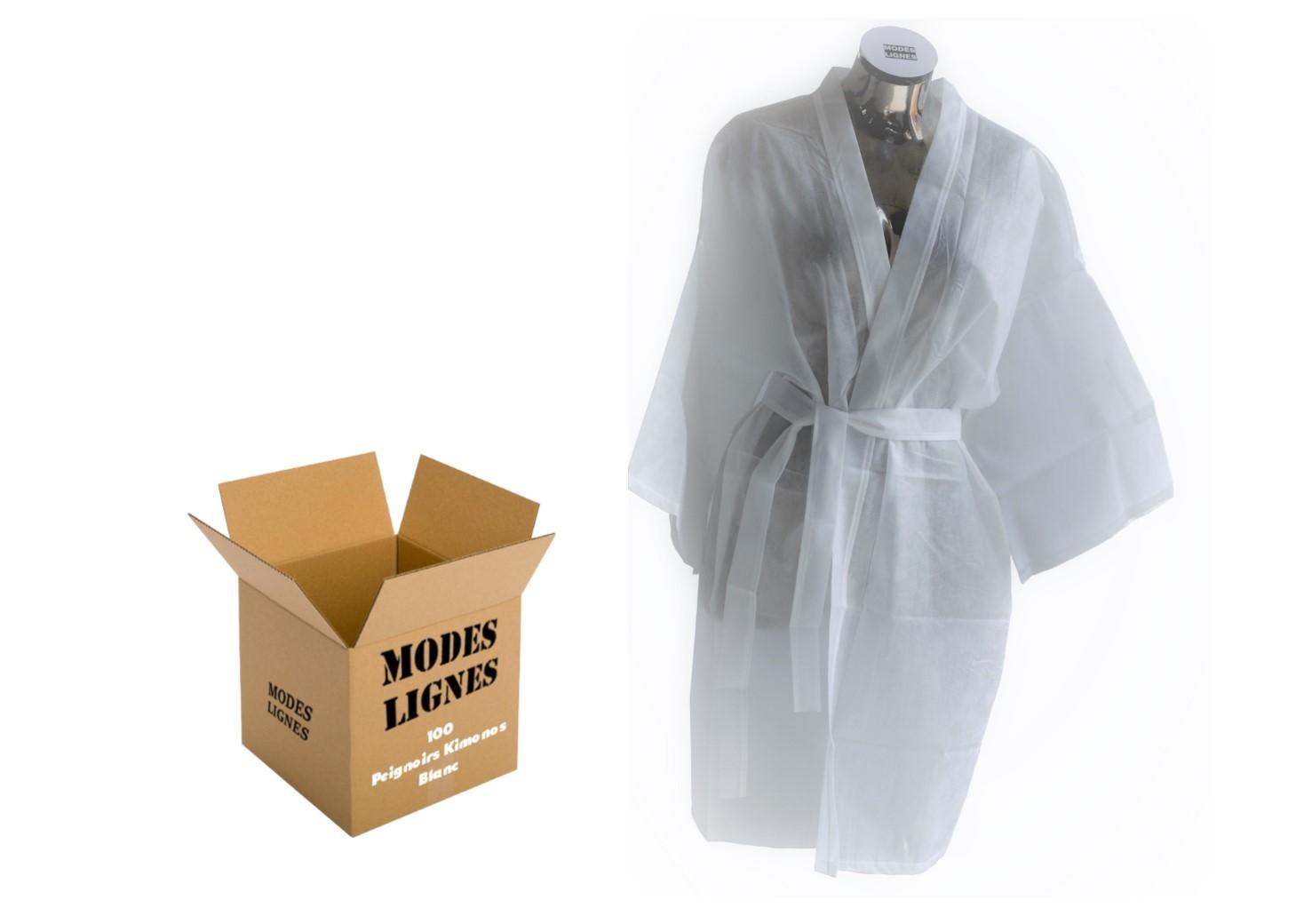 Peignoir Jetable Kimono Usage Unique Non Tisse Thalasso Spa Piscine Institut Beaute Soin Corps