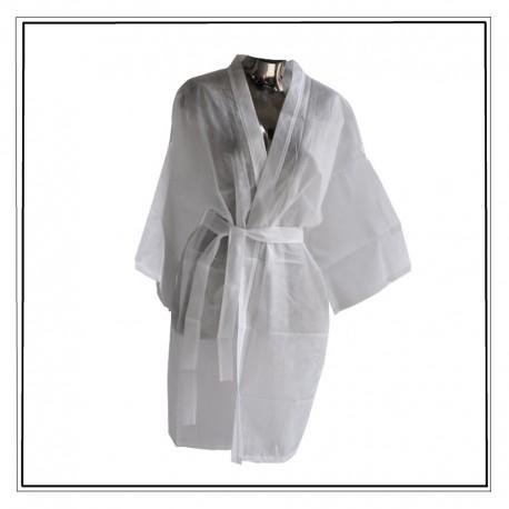 peignoir jetable blanc, kimono non tissé à usage unique