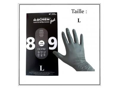 Boites de 100 gants nitrile noir taille L