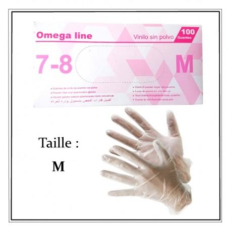 Boites de 100 gants vinyle taille M