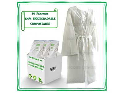 Lot de 50 PEIGNOIRS BIODÉGRADABLES COMPOSTABLES