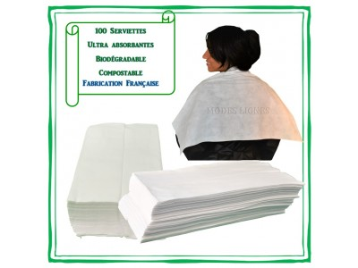 100 Serviettes bio dégradables Jetables ultra absorbantes emballage recyclable