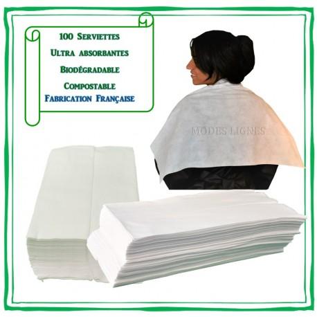 100 Serviettes bio dégradables Jetables ultra absorbantes emballage recyclable